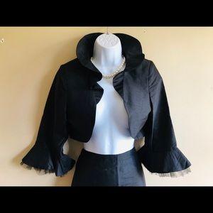 Vintage Black Silk Skirt Suit a la Audrey Hepburn
